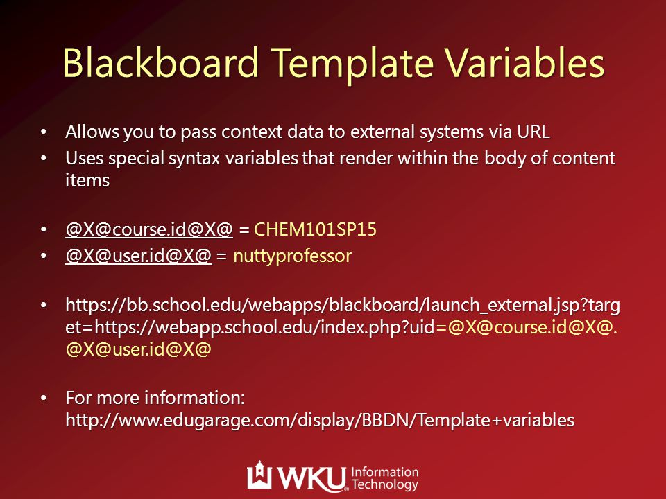 Blackboard Template Variables