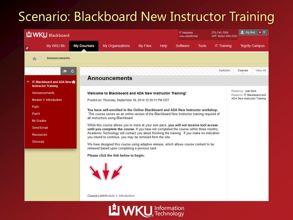 Scenario: Blackboard New Instructor Training