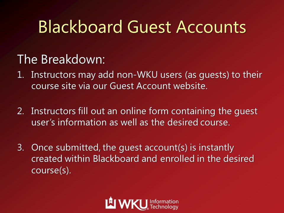 Blackboard Guest Accounts