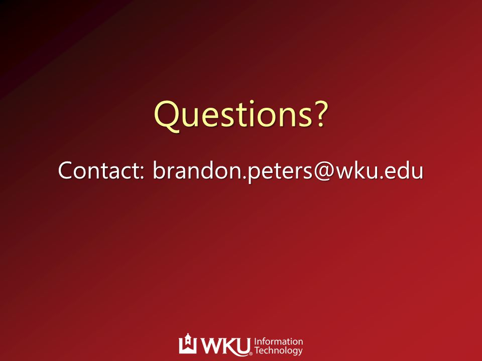 Contact: brandon.peters@wku.edu