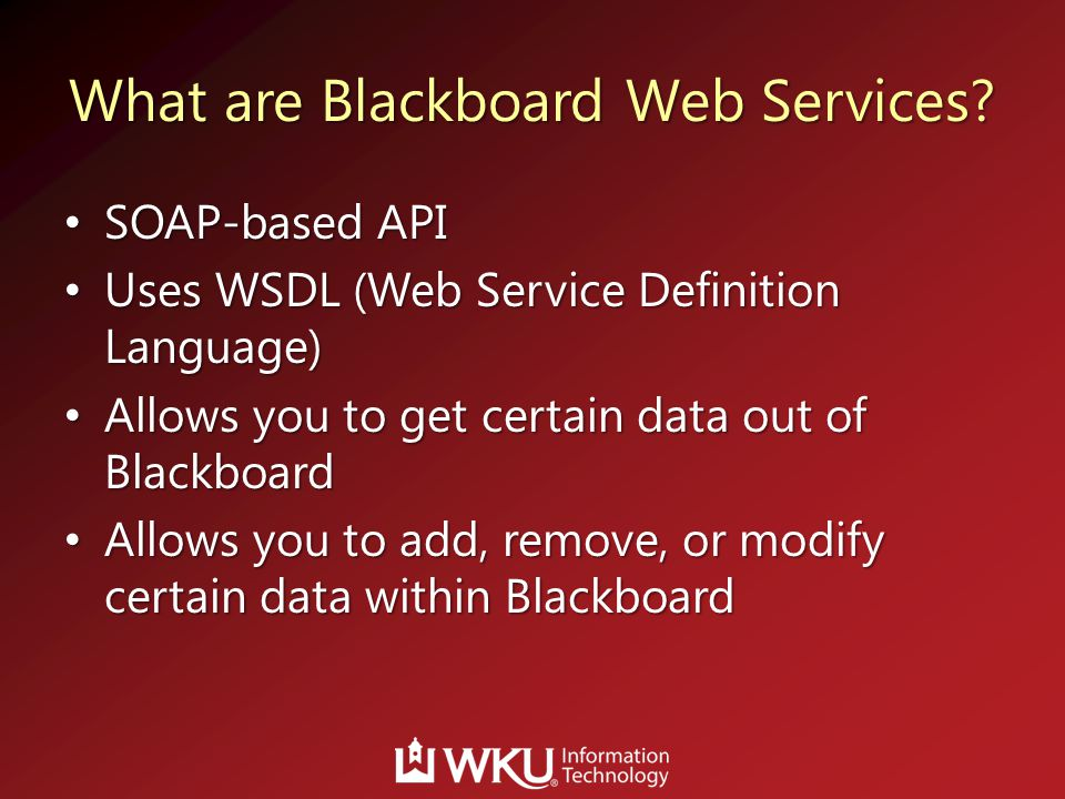 What are Blackboard Web Services