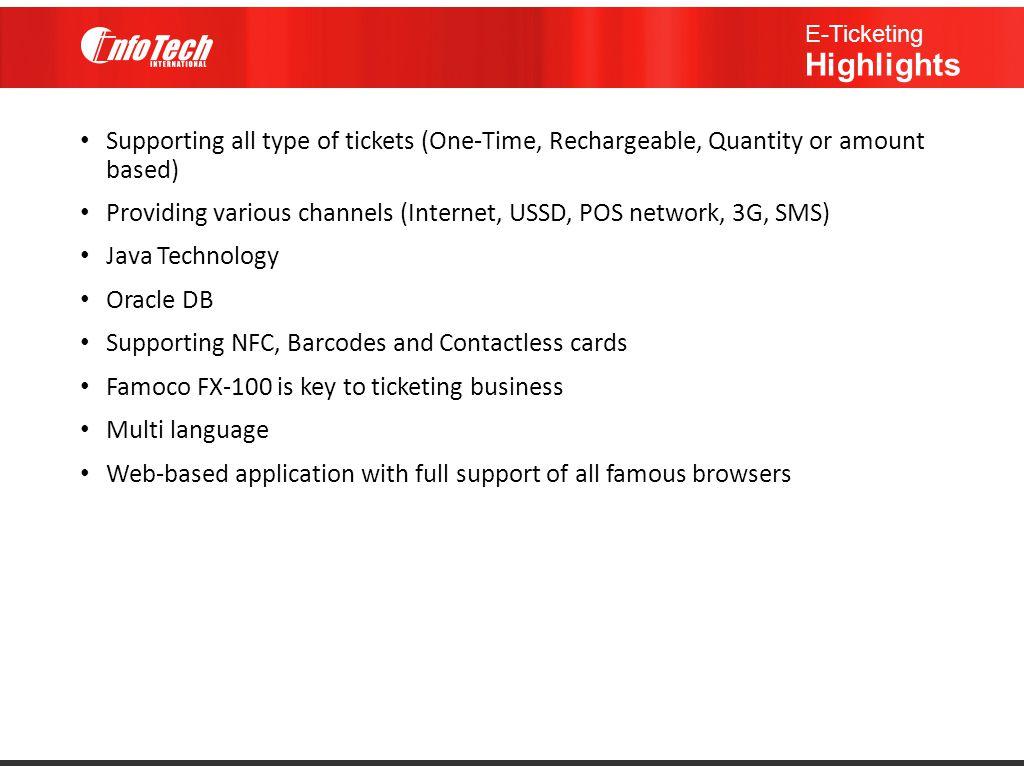 E-Ticketing Highlights