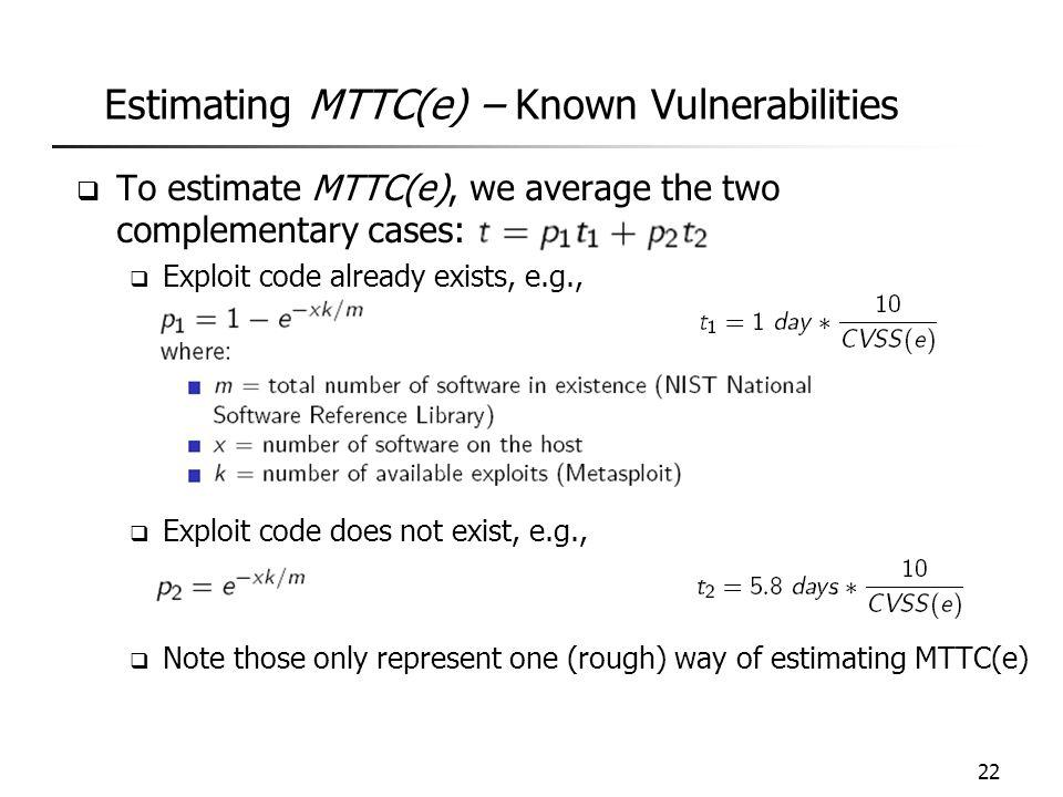 Estimating MTTC(e) – Known Vulnerabilities