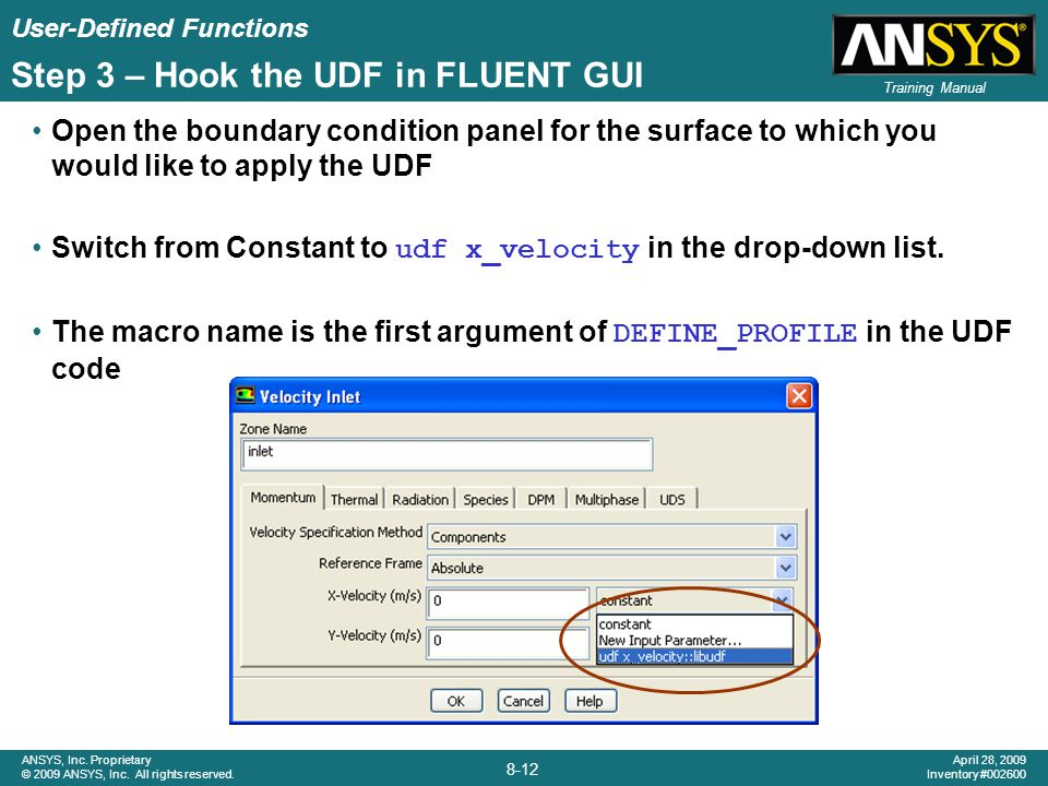 Step 3 – Hook the UDF in FLUENT GUI