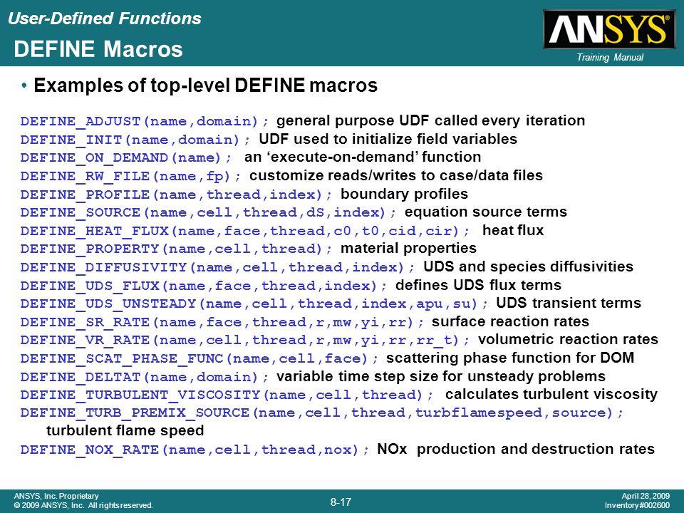 DEFINE Macros Examples of top-level DEFINE macros