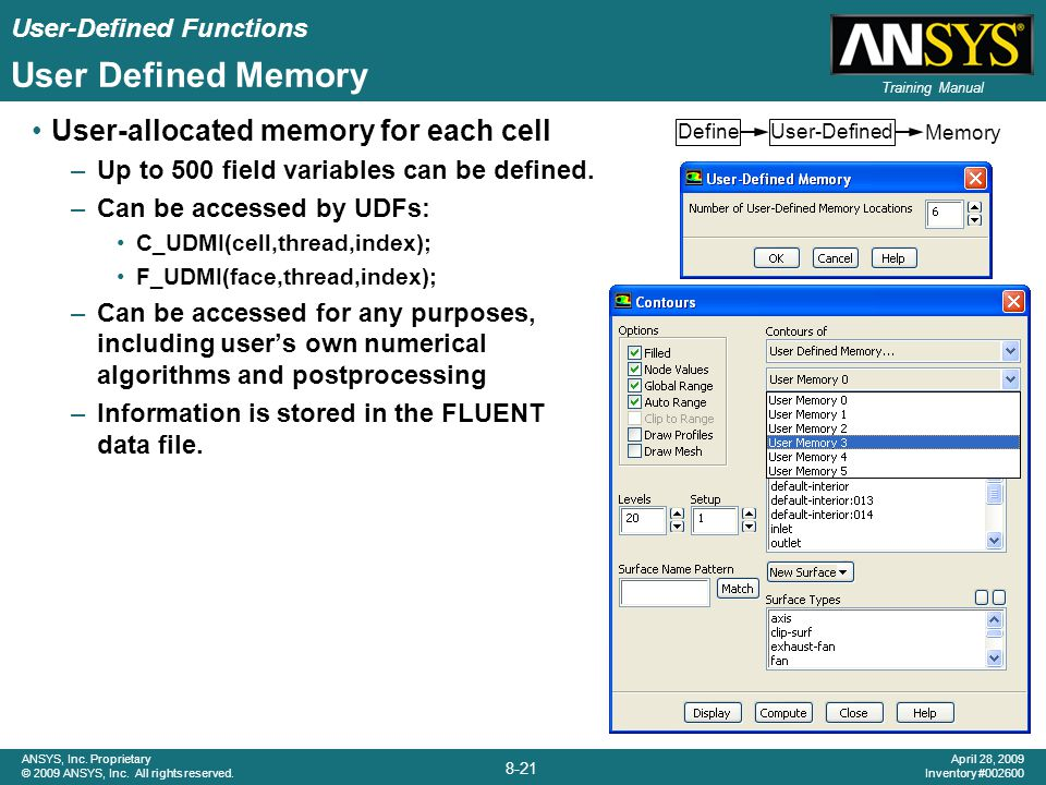 User Defined Memory User-allocated memory for each cell