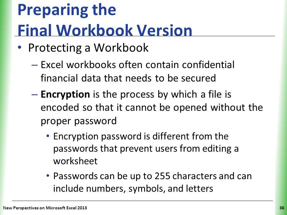 Preparing the Final Workbook Version