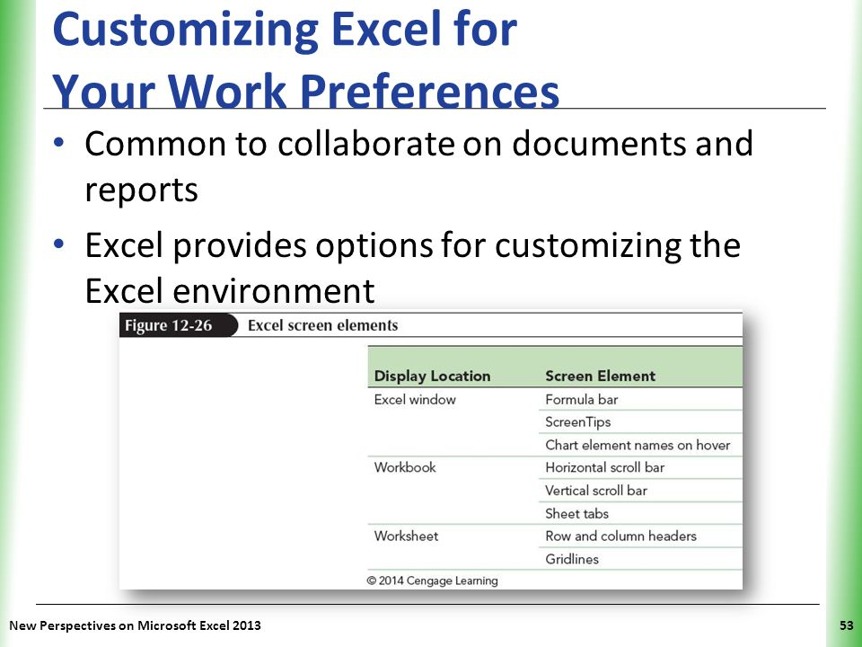Customizing Excel for Your Work Preferences