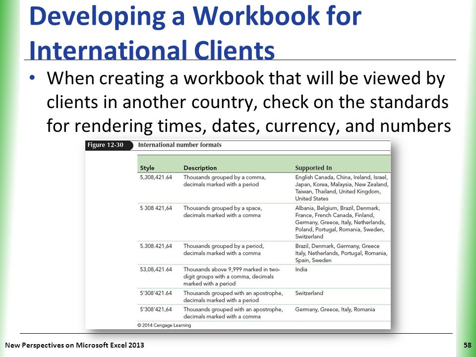 Developing a Workbook for International Clients