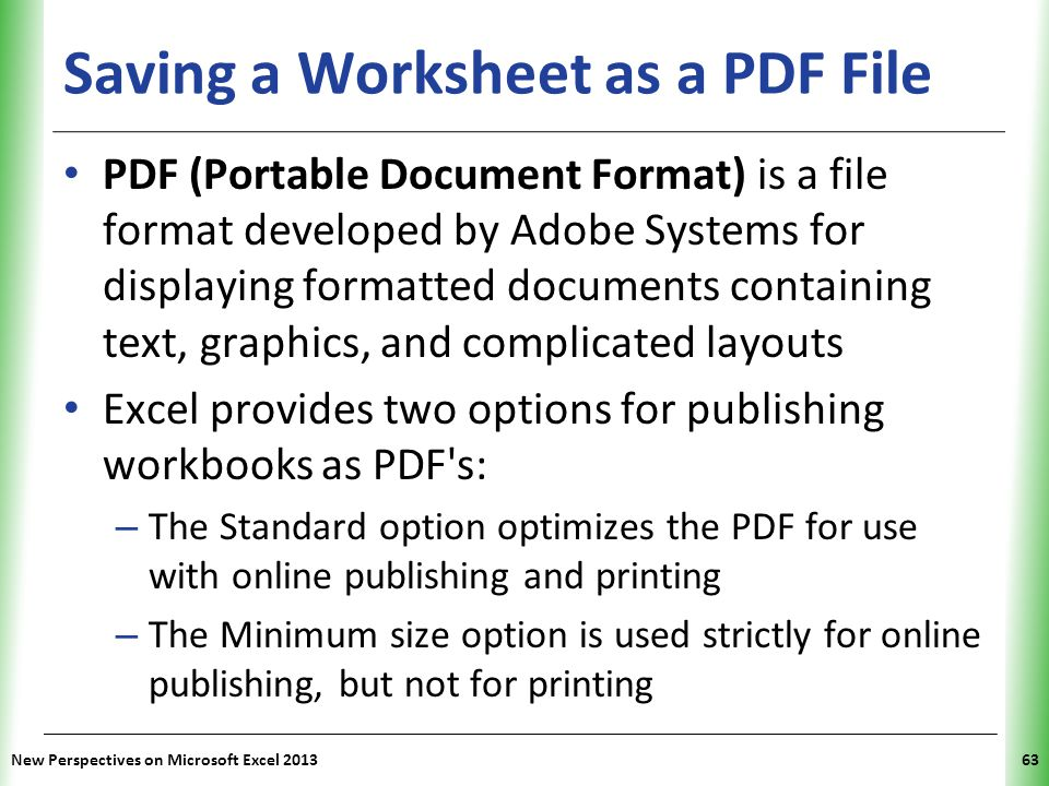 Saving a Worksheet as a PDF File