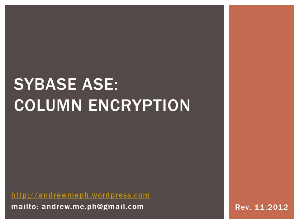 Sybase ASE: column encryption