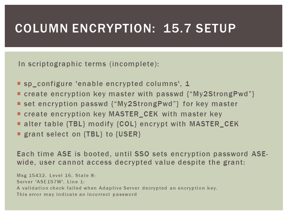 column encryption: 15.7 setup