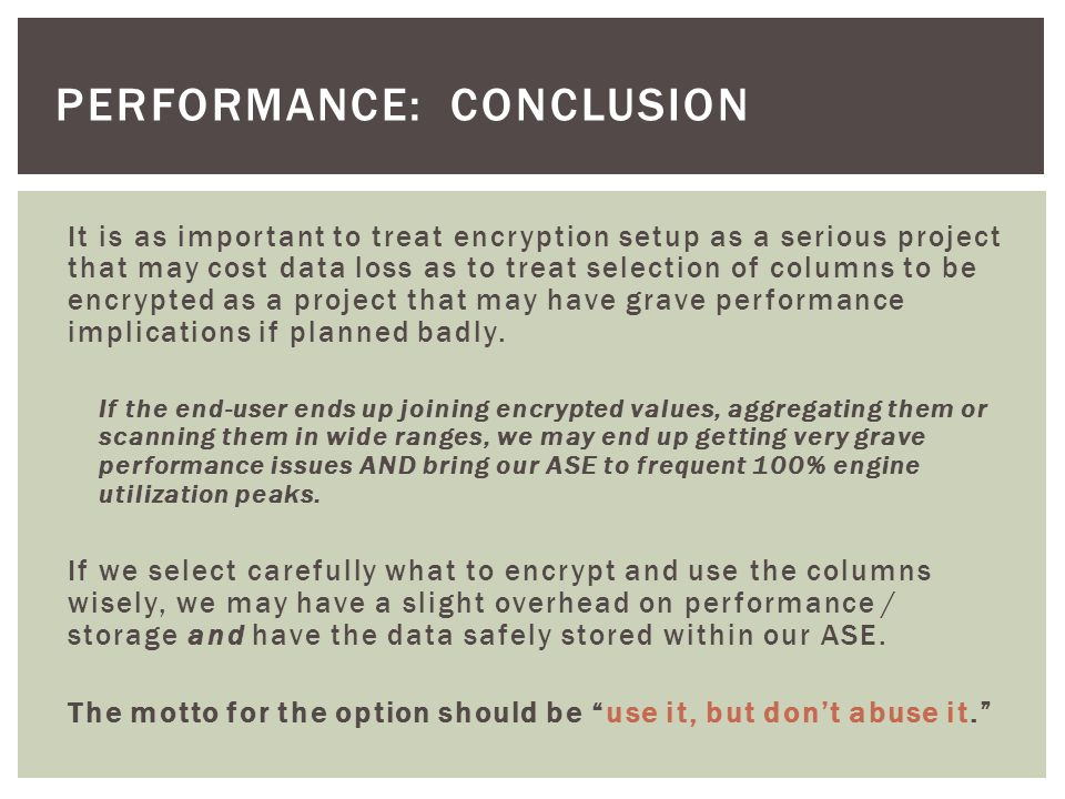 Performance: conclusion