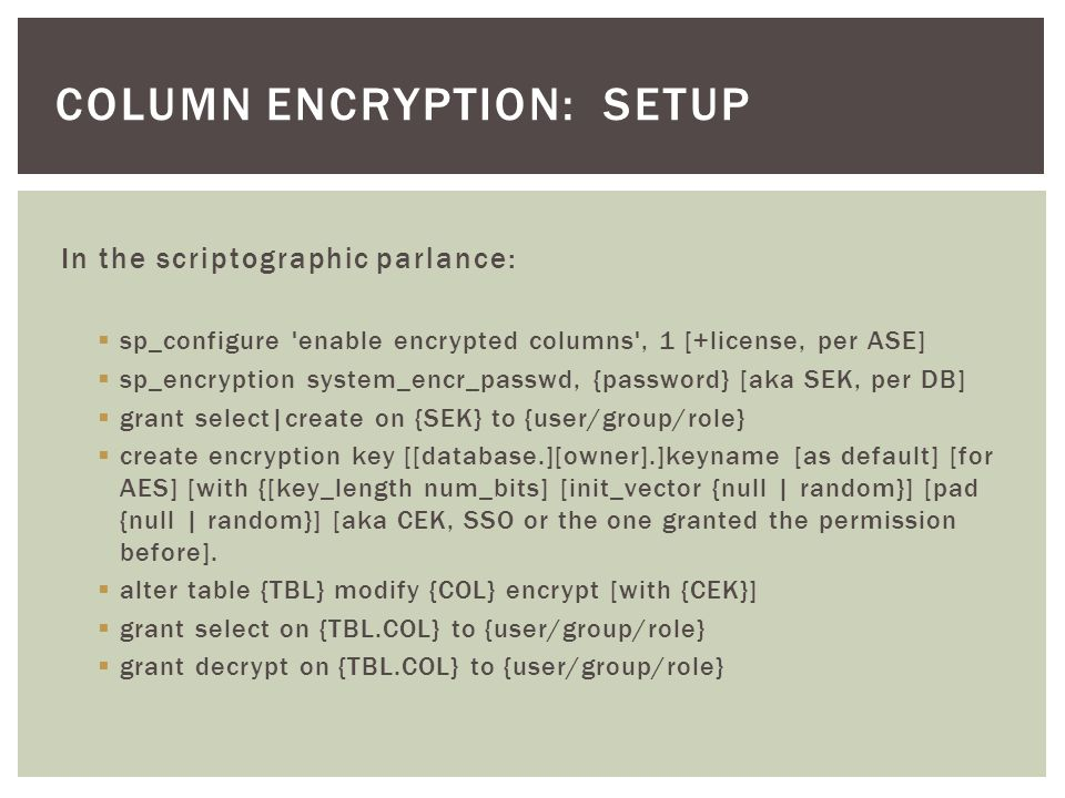 column encryption: setup