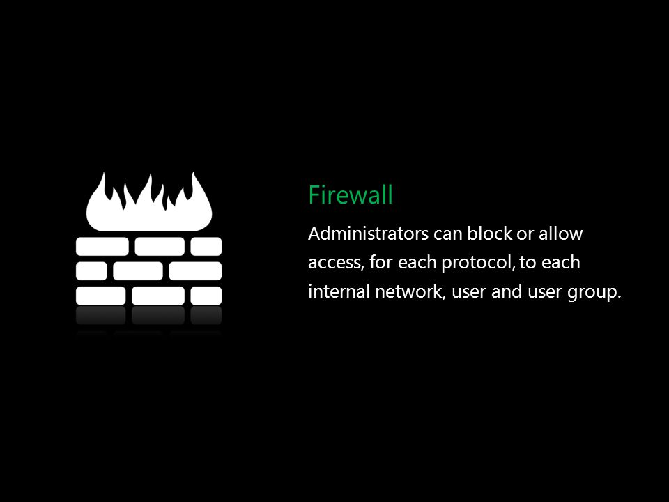 Firewall Administrators can block or allow access, for each protocol, to each internal network, user and user group.