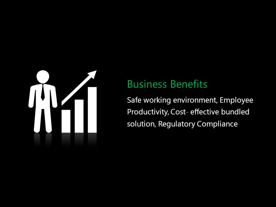 Business Benefits Safe working environment, Employee Productivity, Cost- effective bundled solution, Regulatory Compliance.