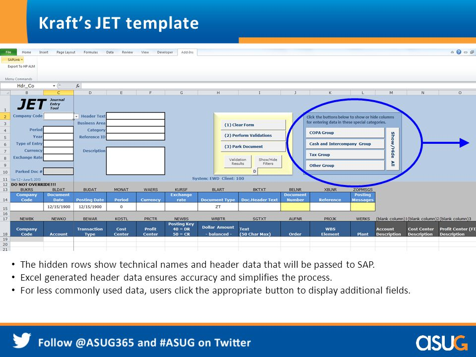 Kraft's JET template For less commonly used data, users click the appropriate button to display additional fields.