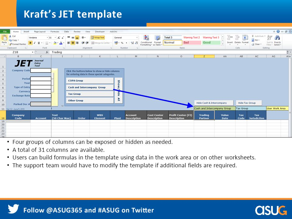 Kraft's JET template Four groups of columns can be exposed or hidden as needed. A total of 31 columns are available.