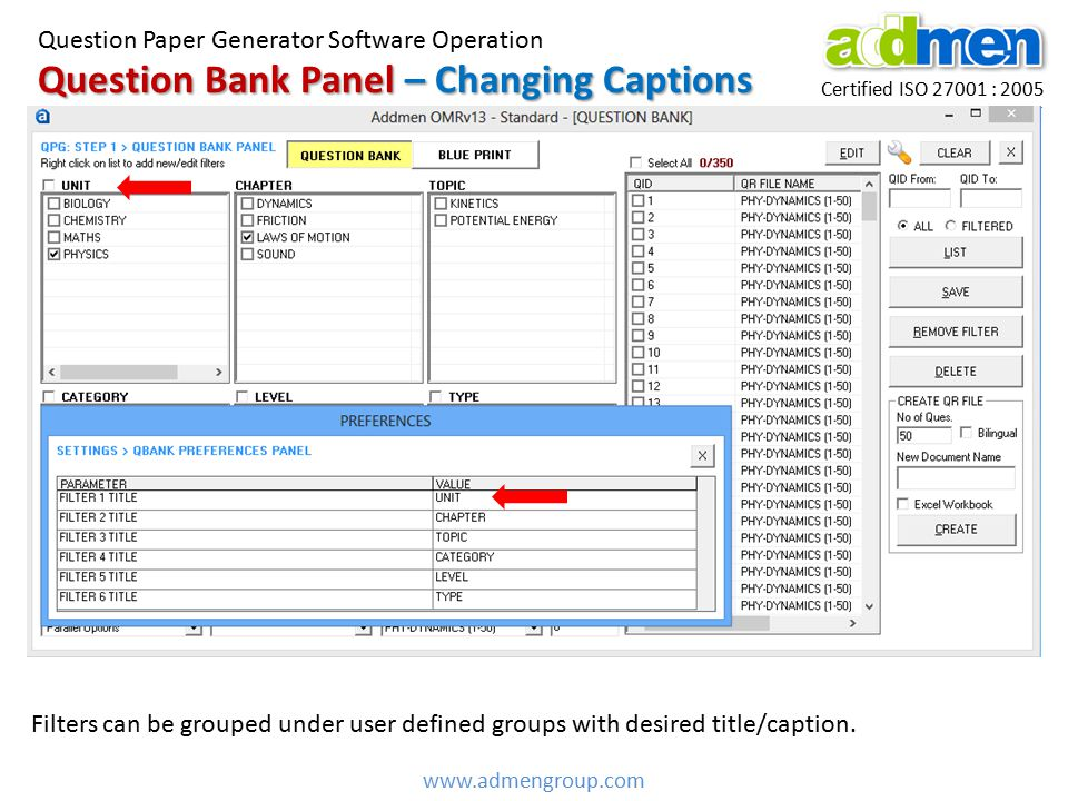 Question Bank Panel – Changing Captions