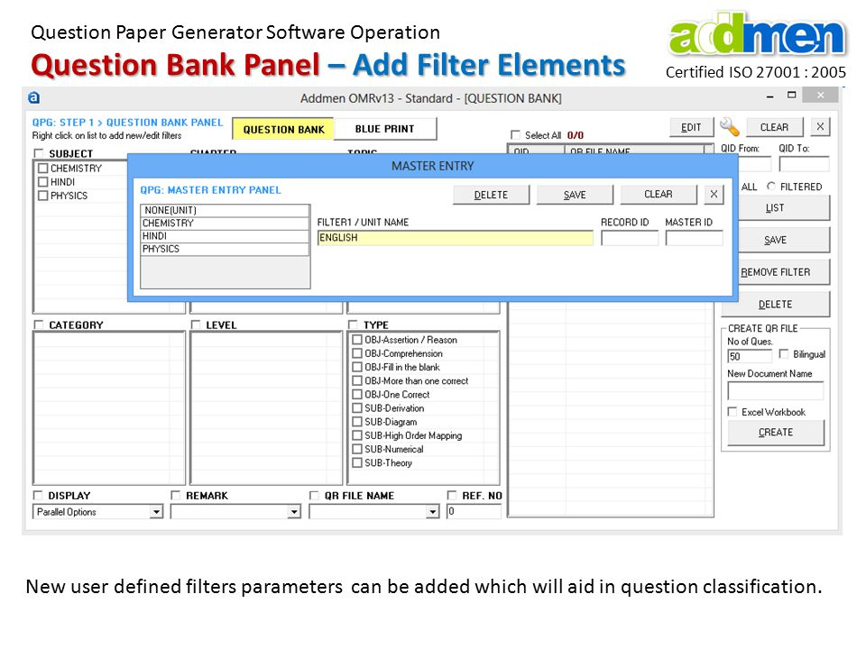 Question Bank Panel – Add Filter Elements