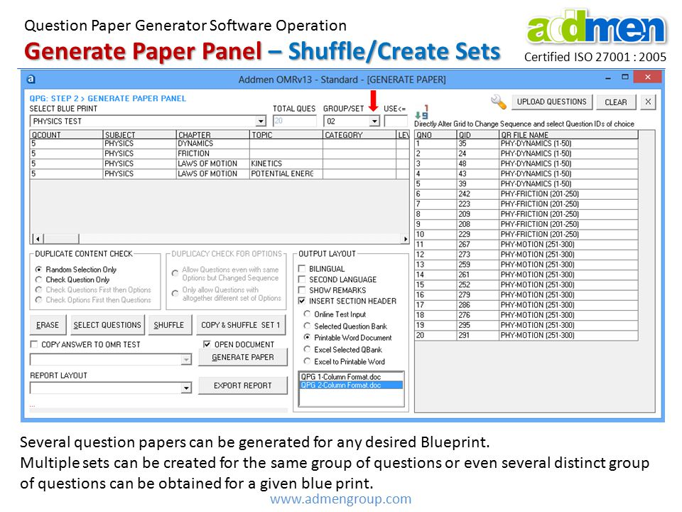 Generate Paper Panel – Shuffle/Create Sets