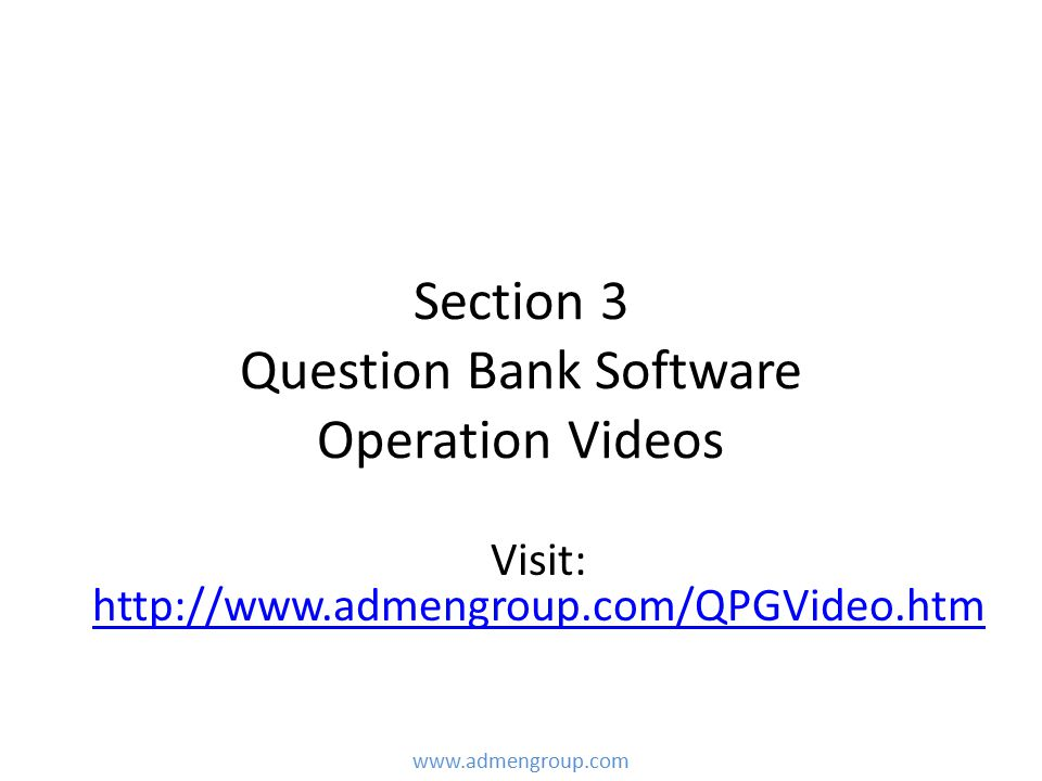 Section 3 Question Bank Software Operation Videos