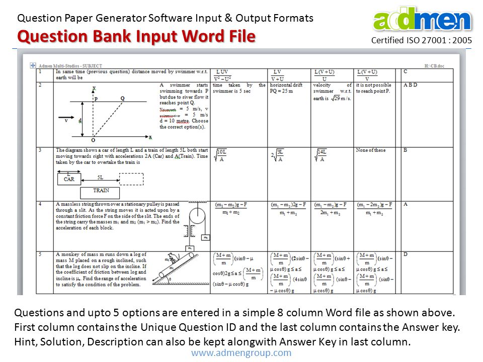 Question Bank Input Word File