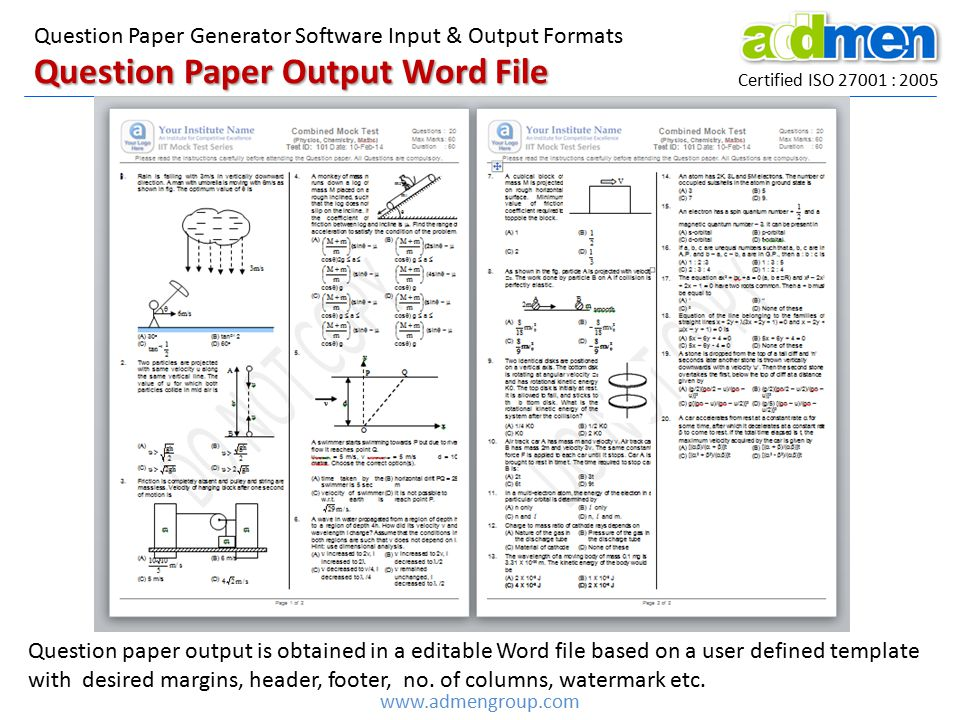 Question Paper Output Word File