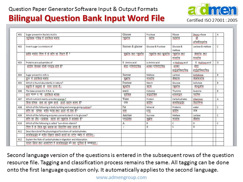 Bilingual Question Bank Input Word File