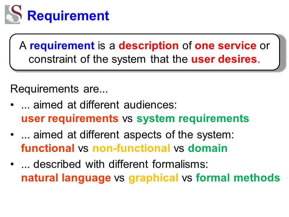 Requirement Requirements are... ... aimed at different audiences: user requirements vs system requirements.