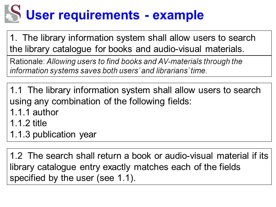 User requirements - example