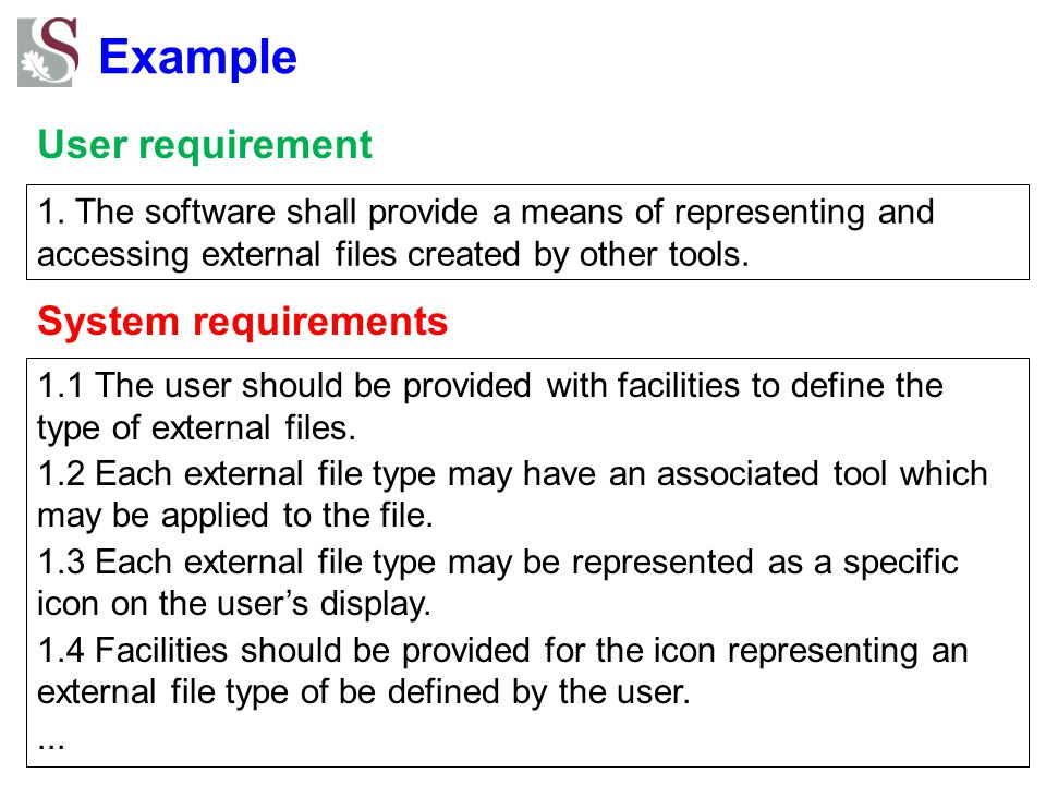 Example User requirement System requirements