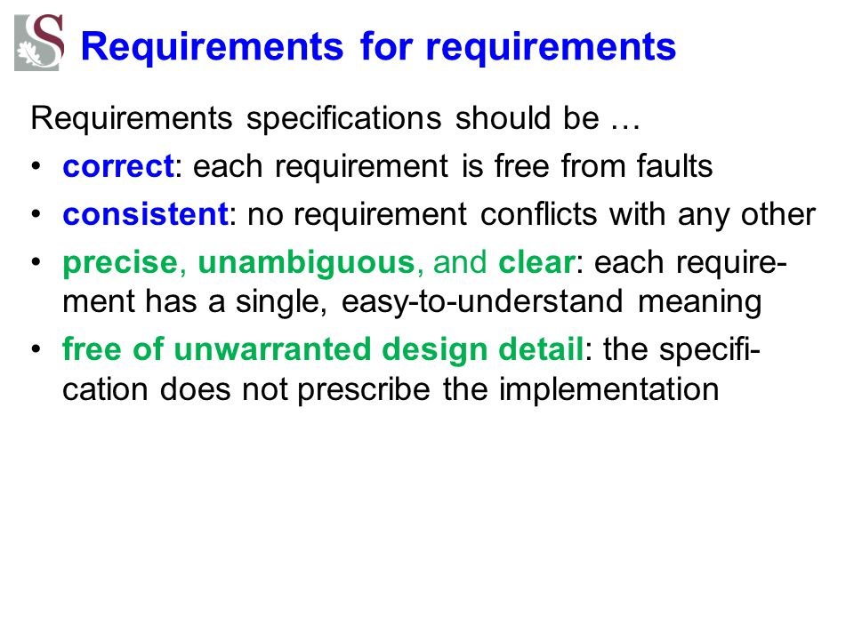 Requirements for requirements