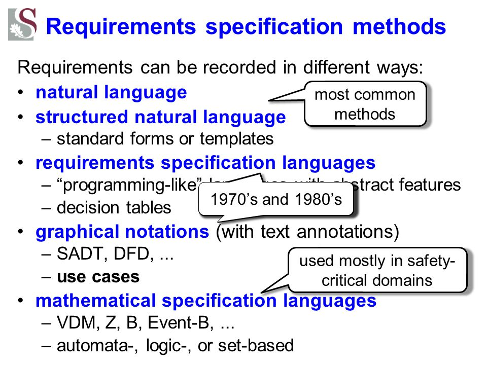 Requirements specification methods
