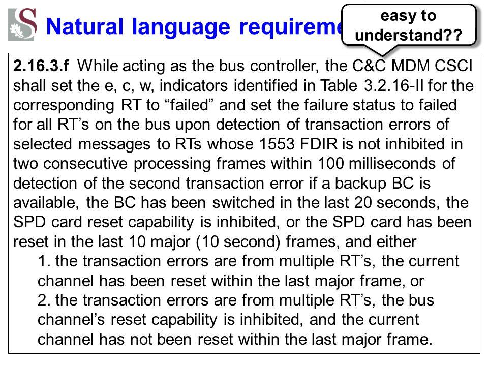 Natural language requirements
