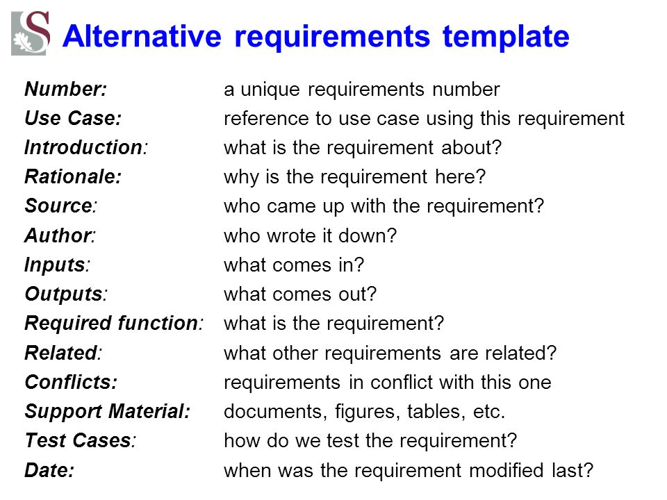 Alternative requirements template
