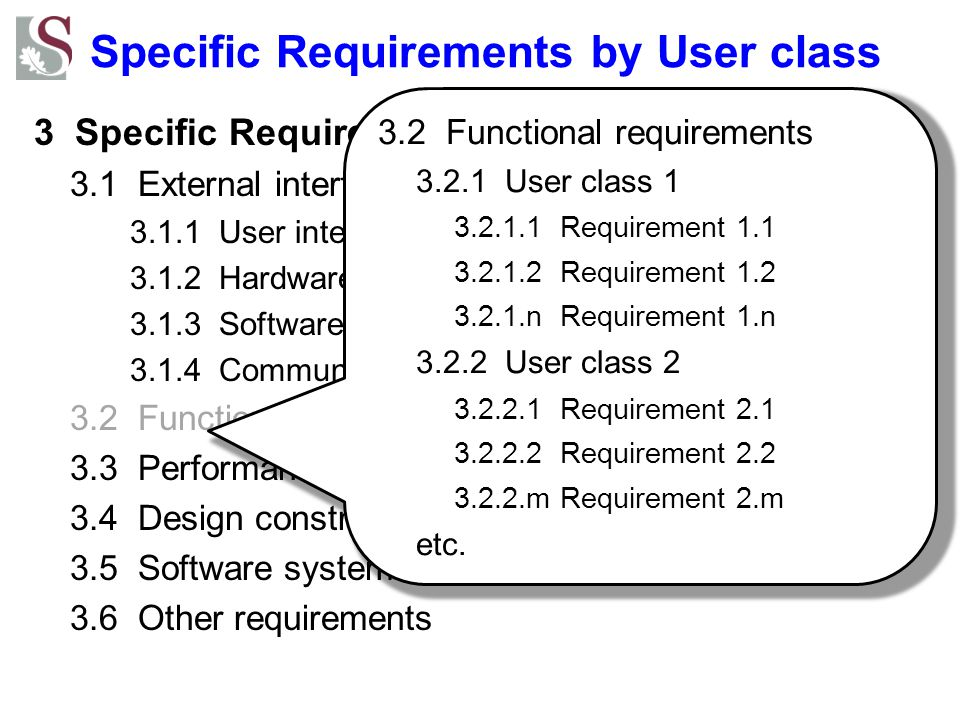 Specific Requirements by User class
