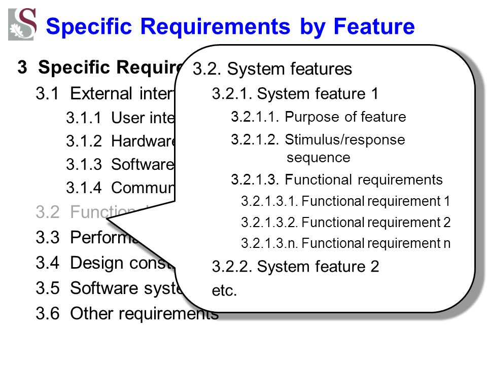 Specific Requirements by Feature