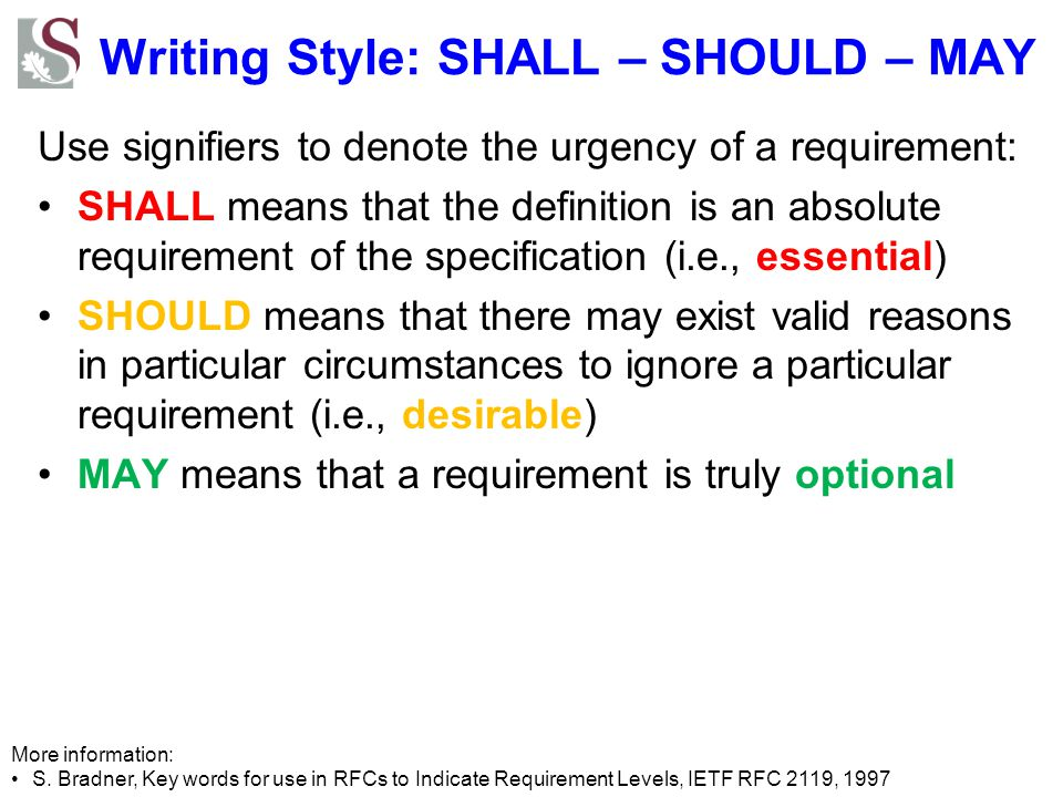 Writing Style: SHALL – SHOULD – MAY