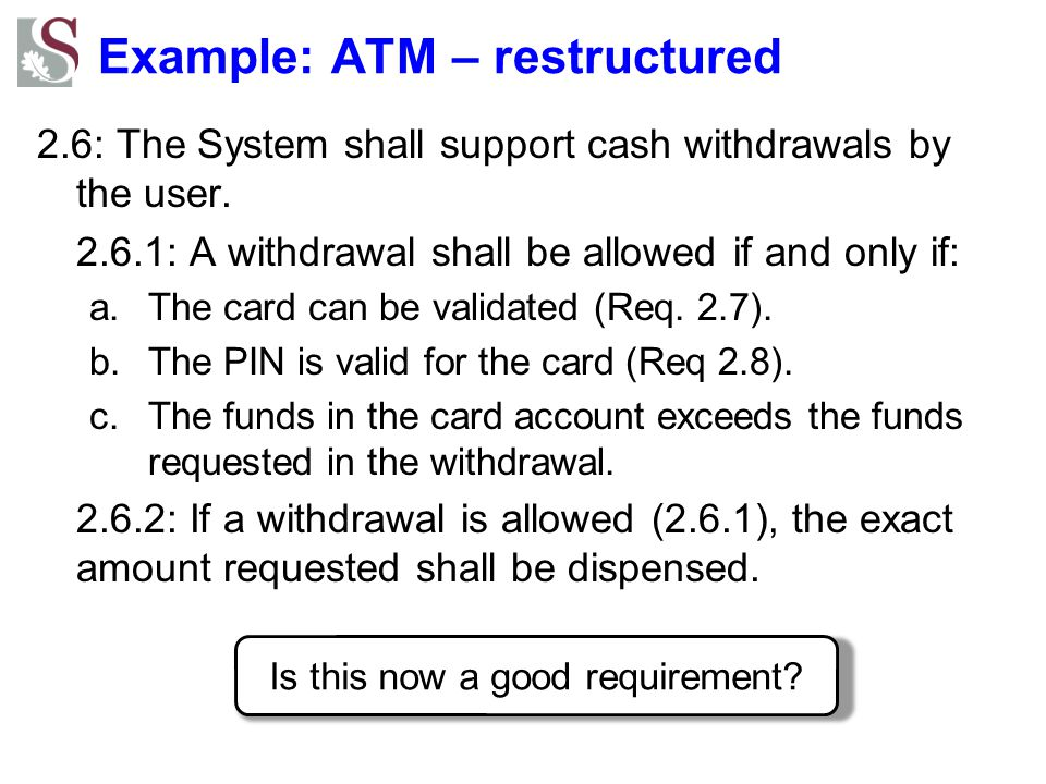 Example: ATM – restructured