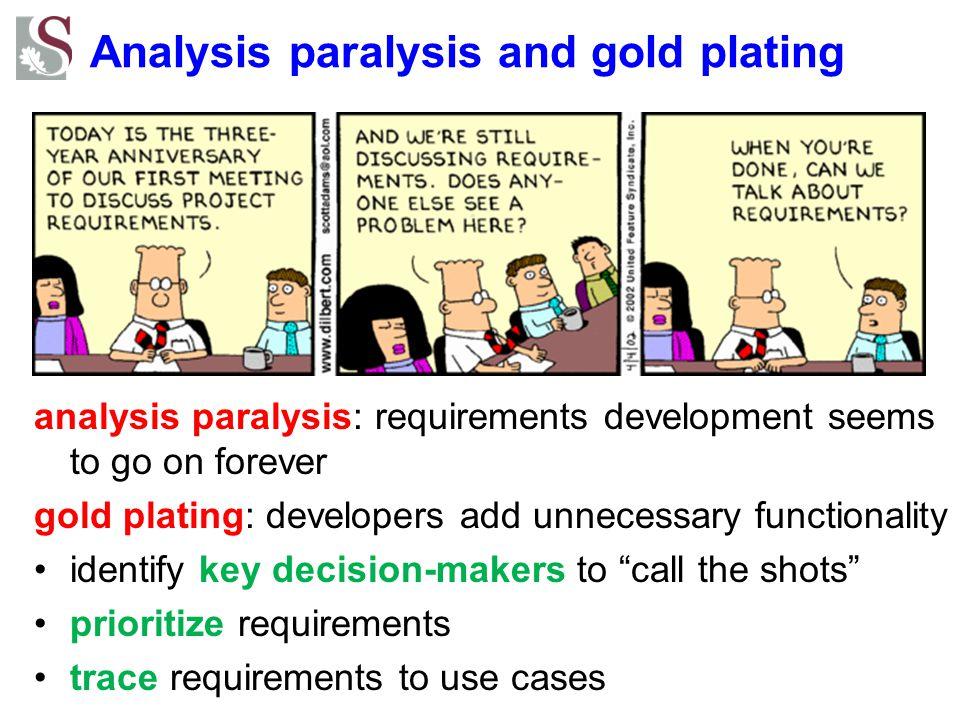 Analysis paralysis and gold plating