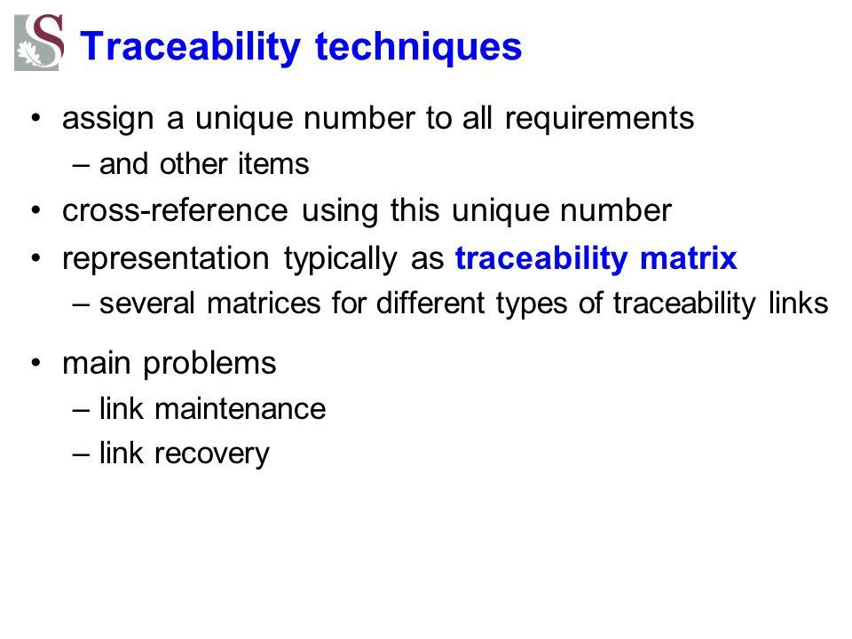 Traceability techniques