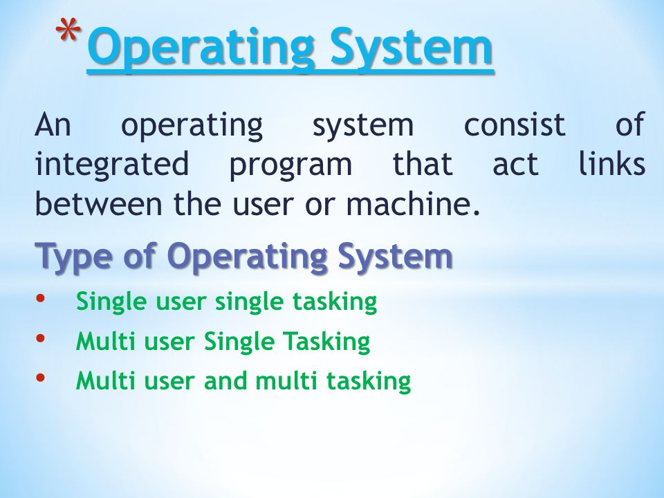 Operating System Type of Operating System