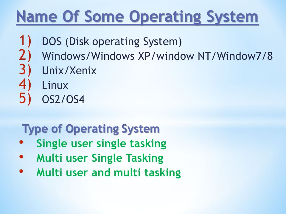 Name Of Some Operating System