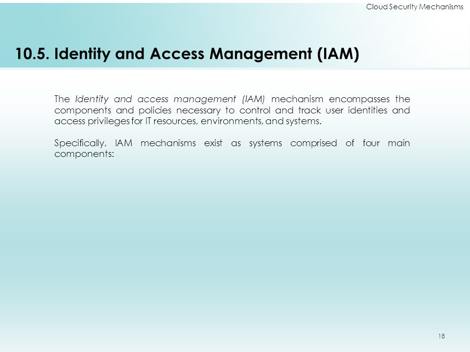 10.5. Identity and Access Management (IAM)