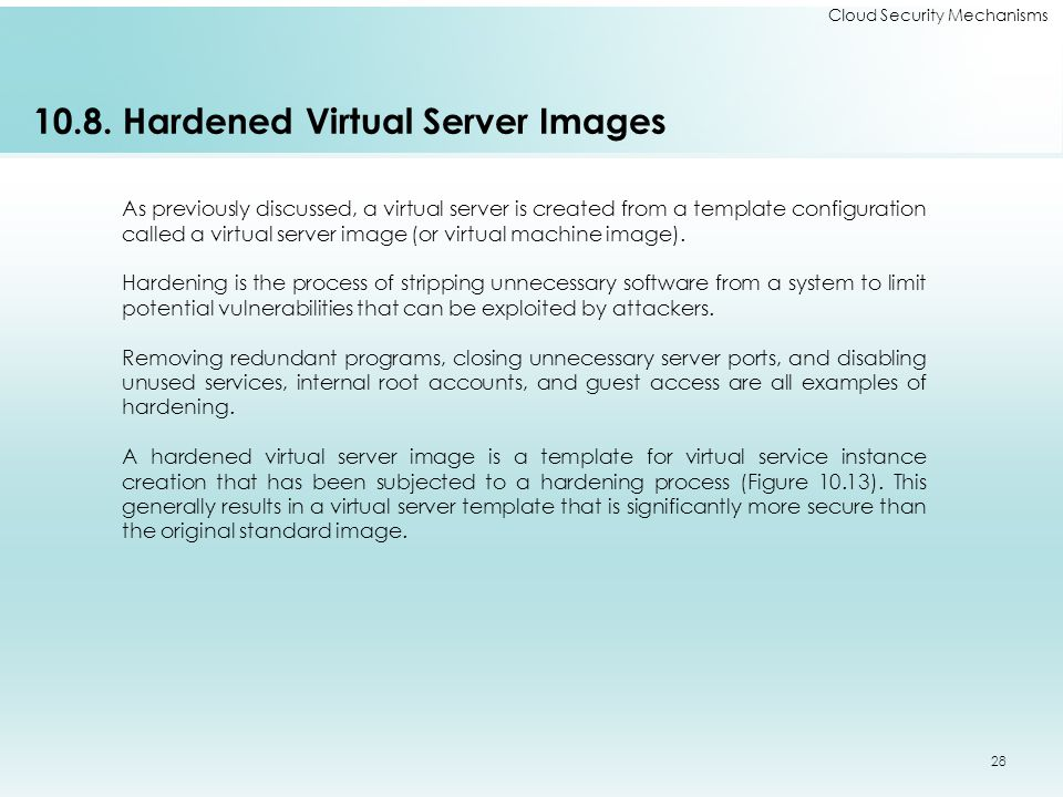 10.8. Hardened Virtual Server Images