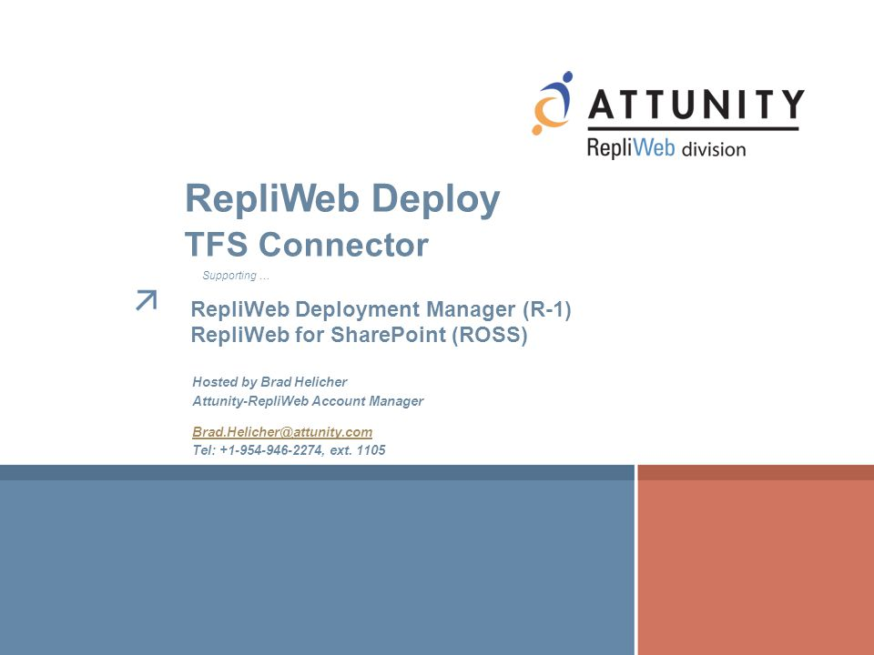 RepliWeb Deploy TFS Connector RepliWeb Deployment Manager (R-1)