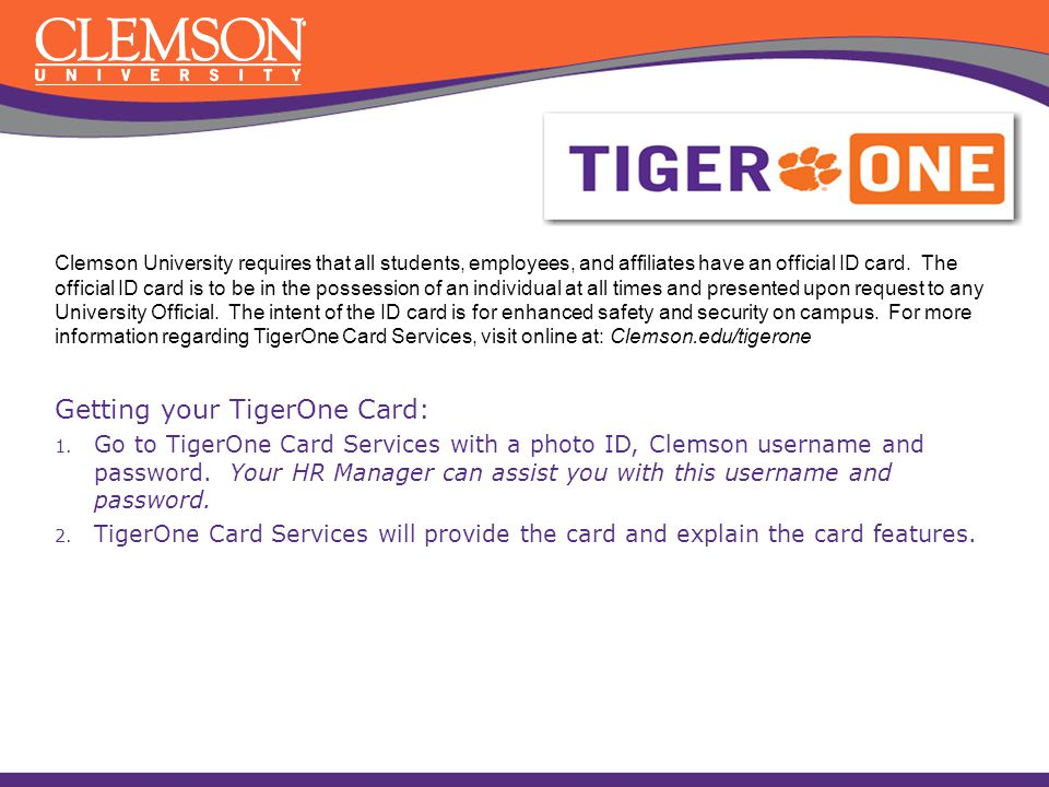 Getting your TigerOne Card:
