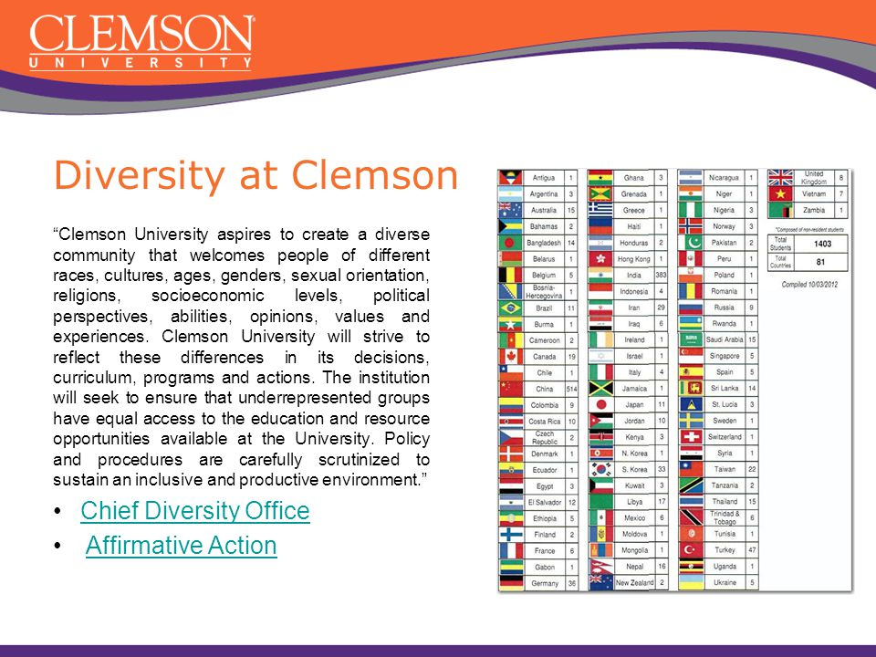 Diversity at Clemson Chief Diversity Office Affirmative Action