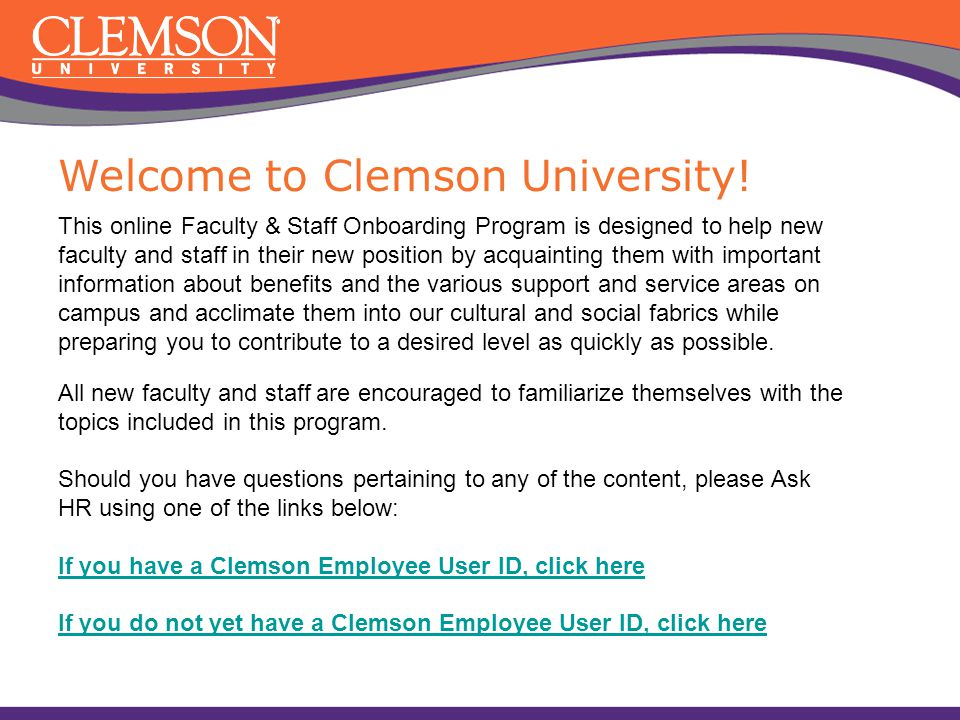 Welcome to Clemson University!